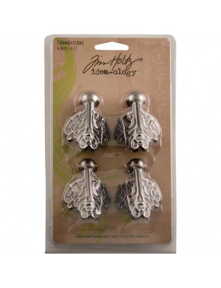 "Tim Holtz Idea-Ology Metal Box Feet Foundations 1.5""X2"" 4"