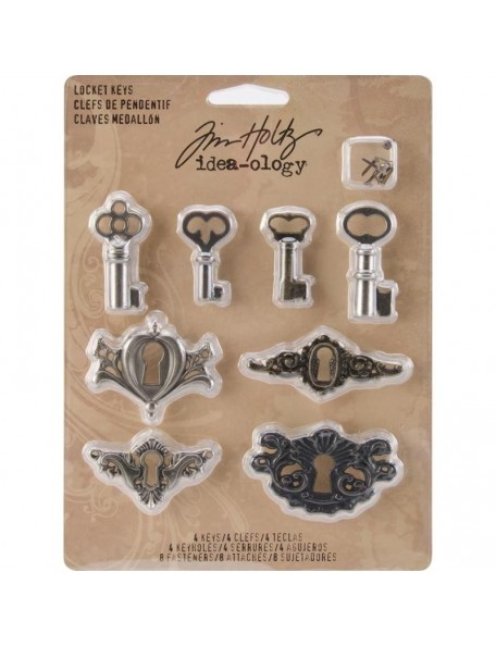 Tim Holtz Idea-Ology Metal Locket Keys & Keyholes 8, Antique Nickel, Brass & Copper