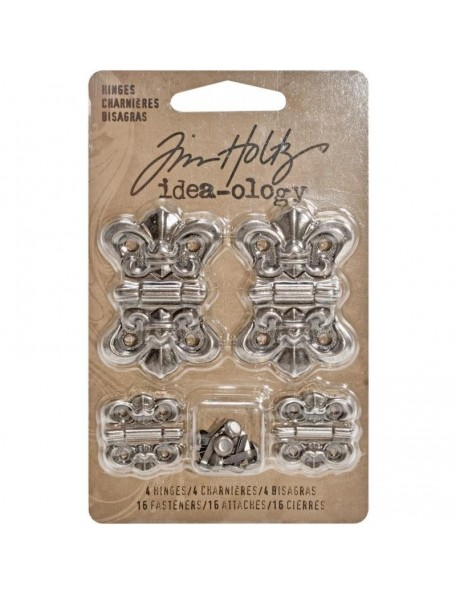 "Tim Holtz Idea-Ology Hinges .75""X.75"" & 1.125""X2.625"" 4 Antique Nickel"