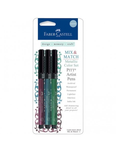 Mix & Match Metallic PITT Artist Pens Ruby, Blue & Green