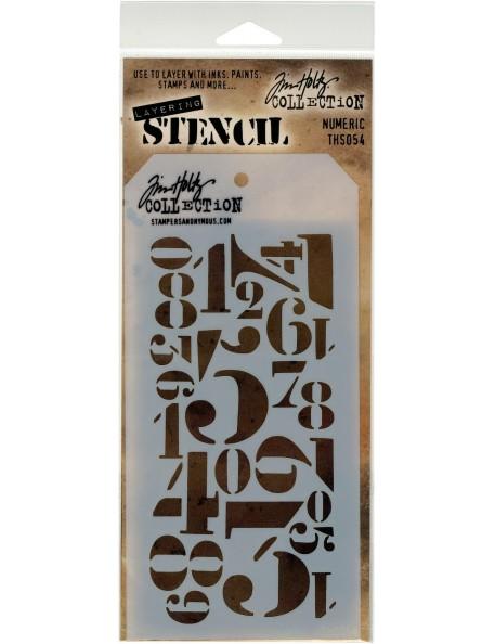 """Tim Holtz Layered Stencil 4.125""""X8.5"""", numerico/Numberic Descatalogado"""