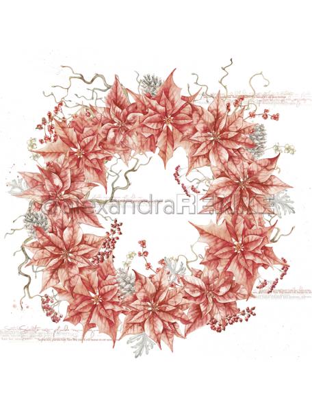 Alexandra Renke Cardstock de una cara 30,5x30,5 cm, Roter Weihnachtssternkranz