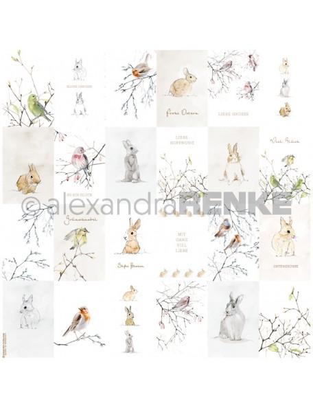 Alexandra Renke Cardstock de una cara 30,5x30,5 cm, Kärtchenbogen Häschen und Vögelchen gold