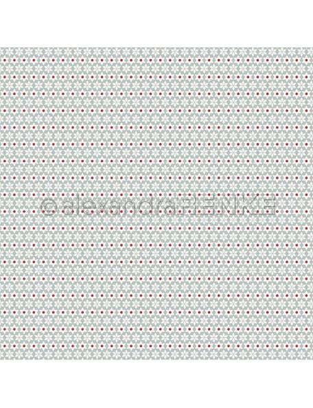Alexandra Renke Cardstock de una cara 30,5x30,5 cm, Weiße Weihnachtssterne mit rote Punkte Muster
