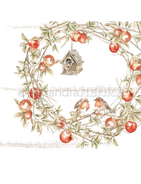 Alexandra Renke Cardstock de una cara 30,5x30,5 cm, Rohtkehlchen im Apfelkranz