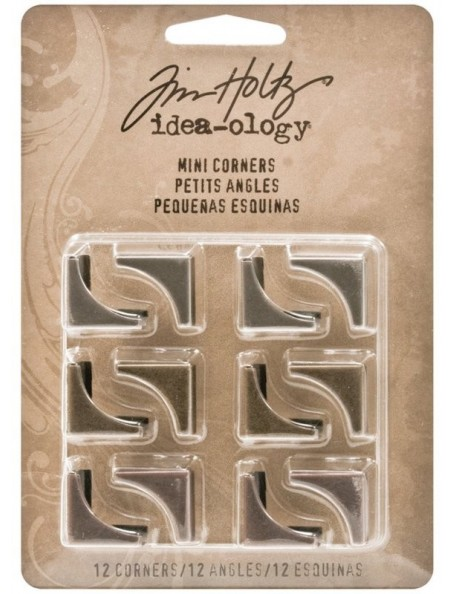 "Tim Holtz Idea-Ology Mini Plain Corners .75"" 12 Antique Nickel, Brass & Copper"