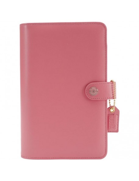 """Color Crush A5 Faux Leather 6-Ring Planner Binder 7.5""""X10"""", Light Pink, interior vacido"""