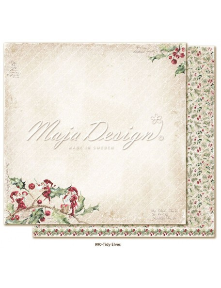 "Maja Design Christmas Season Cardstock de doble cara 12""x12"", Tidy Elves"