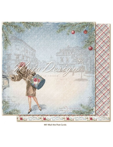 "Maja Design Christmas Season Cardstock de doble cara 12""x12"", Mail the postcards"