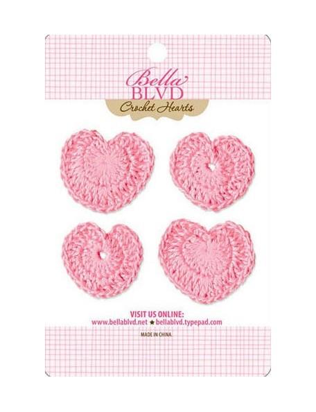 Bella Boulevard Pink Corazones Adornos de Ganchillo
