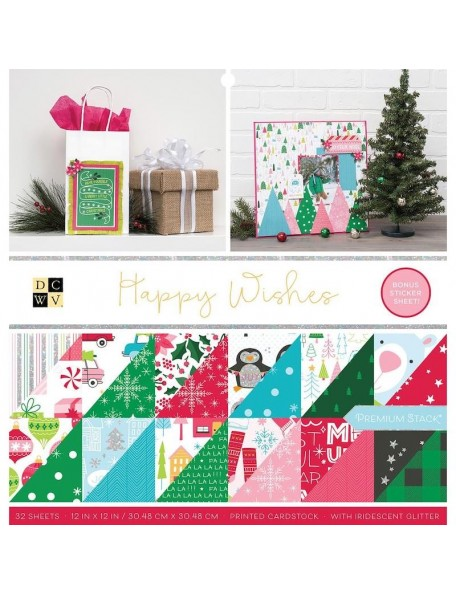 "DCWV Cardstock de doble cara Stack 12""X12"", Happy Wishes 16 Dibujos/2 de cada DESCATALOGADO"