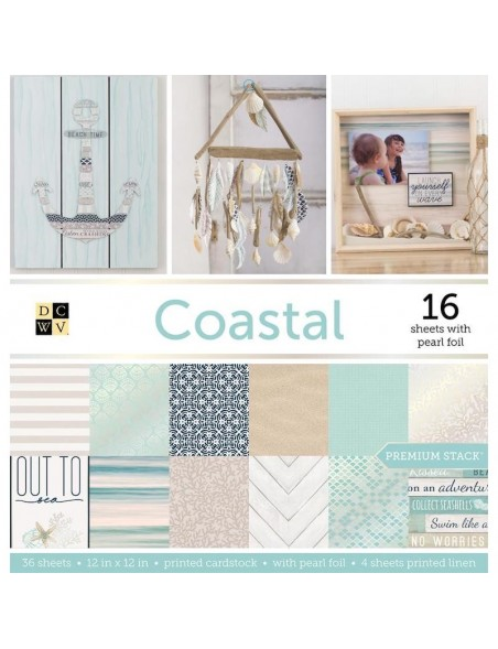 """DCWV Cardstock de una cara Stack 12""""X12"""" 48, Coastal 16 W/Pearl Foil, 4 Linen Prints"""