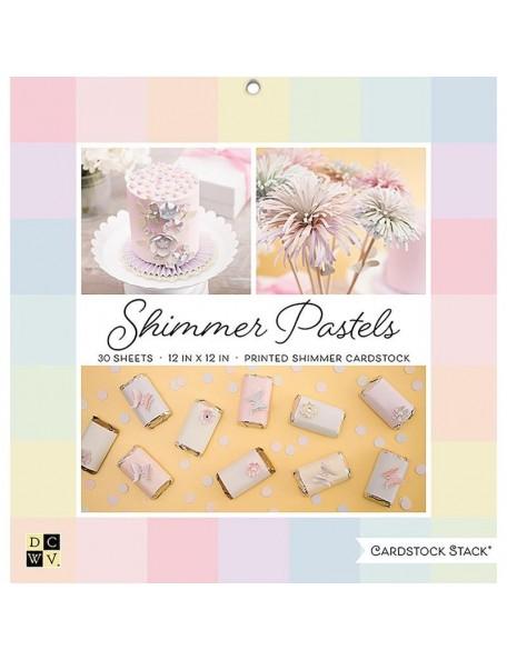 "DCWV Cardstock de una cara Stack 12""X12"" 30, Shimmer Pastels Solid, 10 Colors/3 Each"