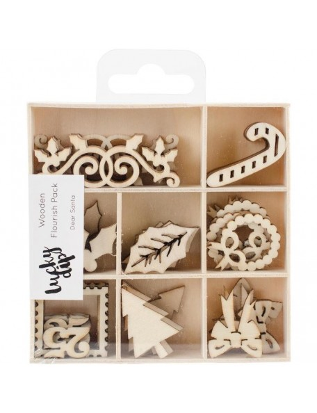 Kaisercraft Themed Mini Wooden Flourishes 45, Dear Santa