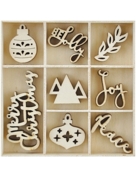 Kaisercraft Themed Mini Wooden Flourishes 45, Jolly Christmas