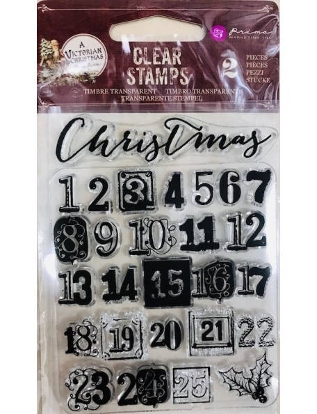 """Prima Marketing A Victorian Christmas Clear Stamps 3""""x4"""" Christmas Countdown"""