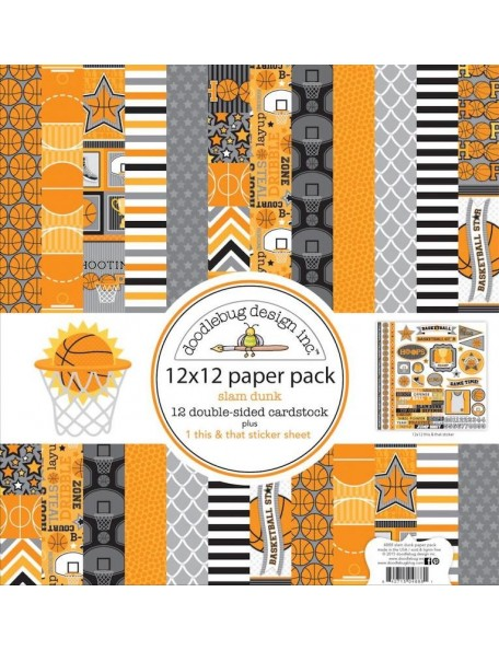 "Doodlebug Paper Pack Hojas de doble cara 12""X12"" 12 Touchdown"