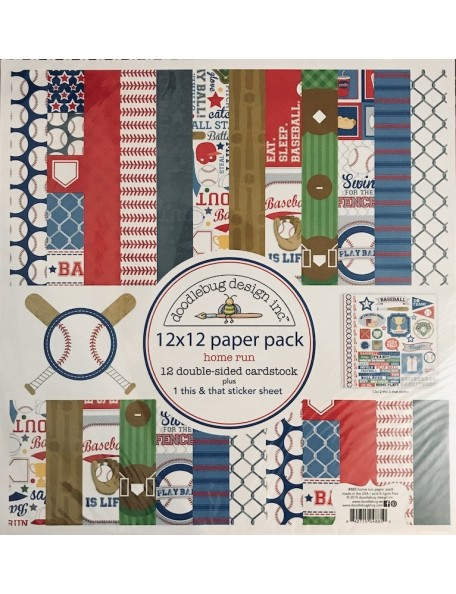 "Doodlebug Paper Pack de doble cara 12""X12"" 13, Home Run"