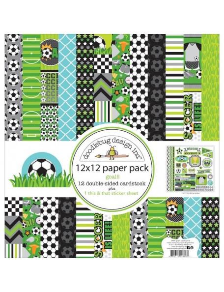 """Doodlebug Paper Pack de doble cara 12""""X12"""" 13, Goal!!"""
