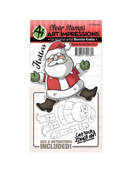 Art Impressions Flutters Stamp & Die Set, Santa