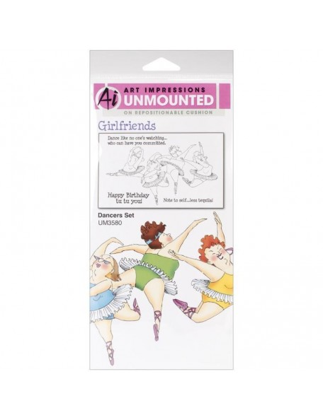 Art Impressions Girlfriends Cling Rubber Stamps, Dancers Set