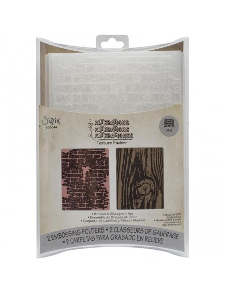 Sizzix Texture Fades A2 Embossing Folders 2, Bricked & Woodgrain By Tim Holtz