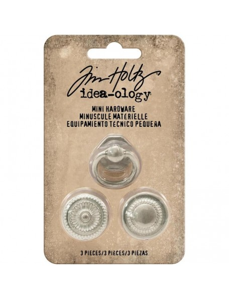 Tim Holtz Idea-Ology Metal Mini Hardware, 2 White Knobs & 1 White Handle