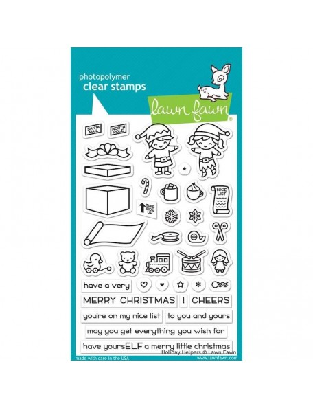 """Lawn Fawn Clear Stamps 4""""X6"""", Holiday Helpers"""