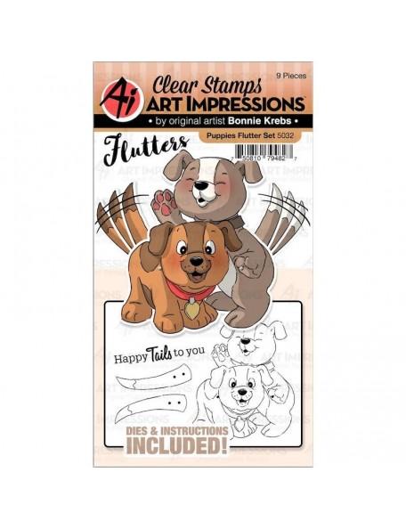 Art Impressions Flutters Set de Sello y Troquel, Cachorros/Puppies