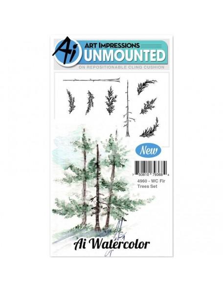 Art Impressions Watercolor Cling Rubber Stamps, Arboles/Fir Trees