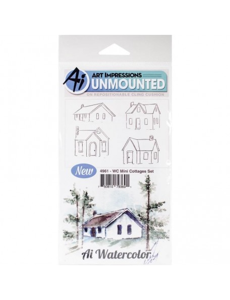 Art Impressions Watercolor Cling Rubber Stamps, Mini Cottages