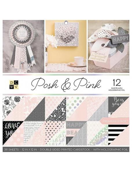 "DCWV Cardstock de doble cara Stack 12""X12"" 36 Hojas, Posh & Pink, 18 dibujos/2, 12 W/Foil"