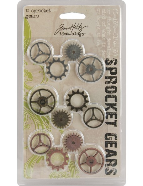 "Tim Holtz Idea-Ology Metal Sprocket Gears .75"" To 1"" 12, Antique Nickel, Brass & Copper"