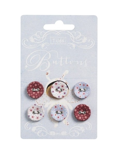 Tilda pack de 6 botones Sweetheart 17mm