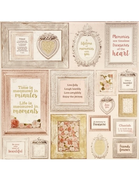 "Kaisercraft Cottage Rose Cardstock de doble cara 12""X12"" framed"