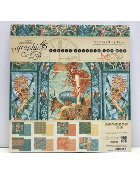 "Graphic 45 Paper Pad Cardstock de doble cara 8""X8"" 24, Safari Adventure12 Diseños/2"