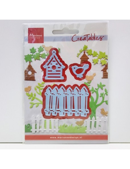 "Marianne Design Creatables Dies-Fence, Bird & House Up To 1""X2.75"""