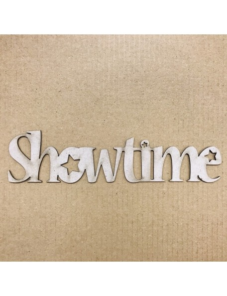 "Fabscraps Troquelado de Chipboard Palabra Showtime, 1.5""X5.75"""