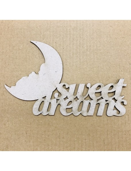 "FabScraps Troquelado de Chipboard Palabra Sweet Dreams, 2.875""X4.625"""