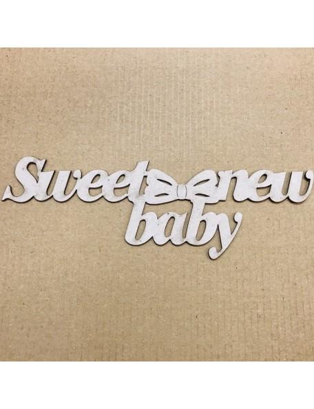 "Fabscraps Die-Cut Grey Chipboard Word Sweet New Baby, 1.875""X6.625"""