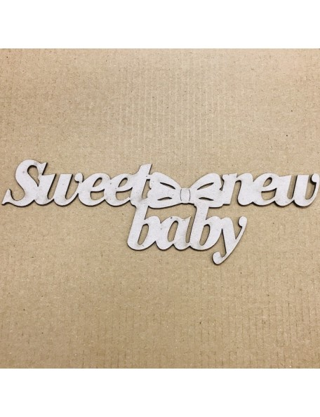 "FabScraps Troquelado de Chipboard Palabra Sweet New Baby, 1.875""X6.625"""