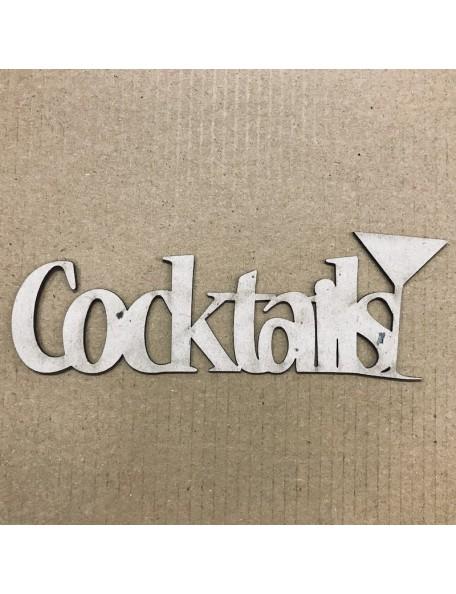 "Fabscraps Die-Cut Grey Chipboard Word Cocktails, 1.625""X5"""
