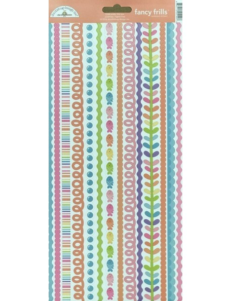 "Doodlebug Under The Sea Pegatinas de Cardstock 6""X13"", Fancy Frills"