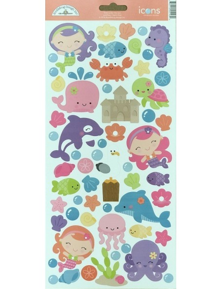 "Doodlebug Under The Sea Cardstock Stickers 6""X13"", Icons"