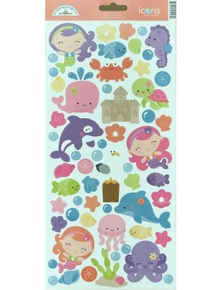 """Doodlebug Under The Sea Pegatinas de Cardstock 6""""X13"""", Iconos"""