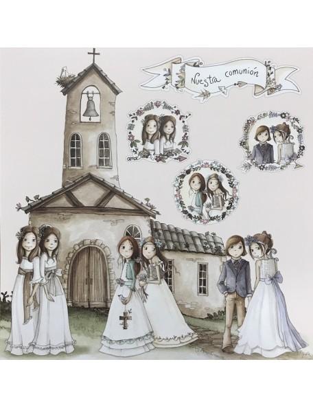 El Altillo de los Duendes Ellas celebran su comunion Cardstock de doble cara 12¨x12¨, 003