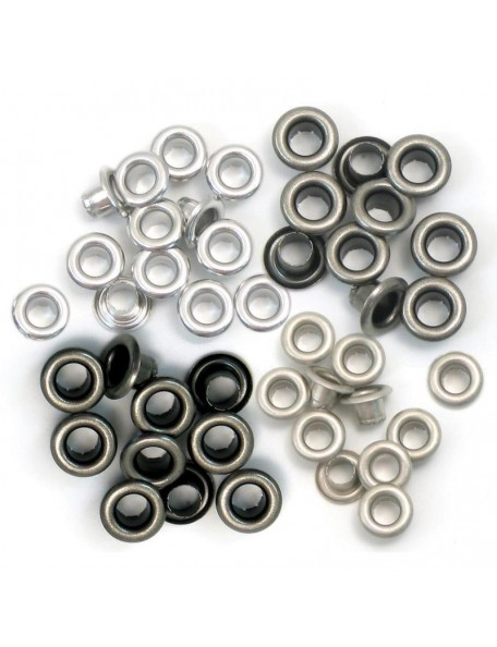 We R Memory Keepers Ojales/Eyelets Standard 15 de cada colore plata, total 60