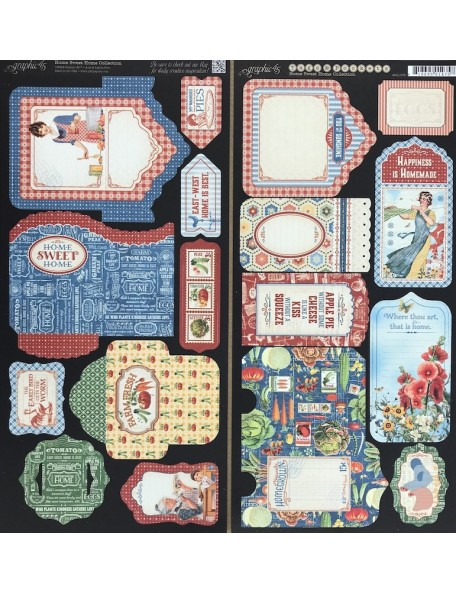 "Graphic 45 Home Sweet Home Cardstock Die-Cuts 6""X12"" 2 Hojas, Tags & Pockets"