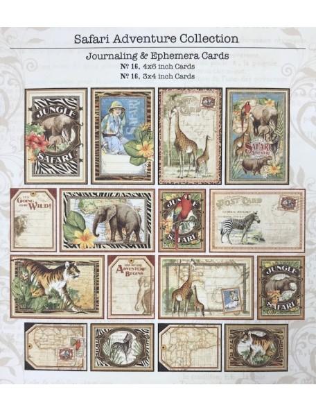 "Graphic 45 Safari Adventure Ephemera Cards (16) 4""X6"" & (16) 3""X4"""