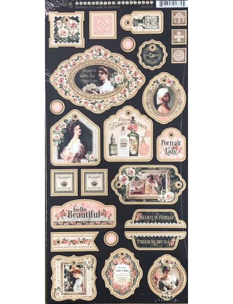 "Graphic 45 Portrait Of A Lady Chipboard Troquelados 6""X12"" Hojas Decorativas"